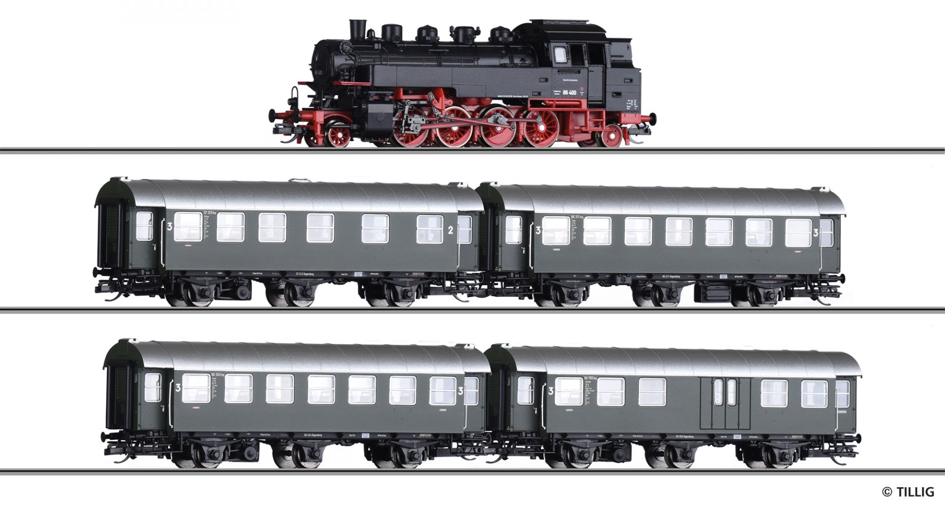HS  Tillig 01004 Zugset  DB-Personenzug  1950er Jahre  Spur TT